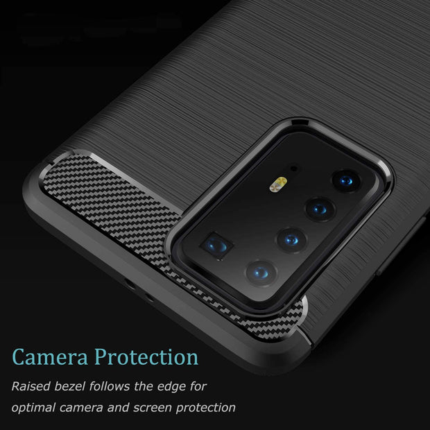 Shockproof Silicone Carbon Fibre Case Cover For Huawei P30 Lite