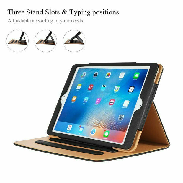 Genuine Leather BLACK TAN Smart Stand Case Cover For Apple iPad Air 1 / Air 2