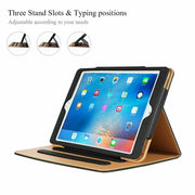 "Genuine Leather BLACK TAN Smart Stand Case Cover For Apple iPad 10.2"" (8th Gen)"