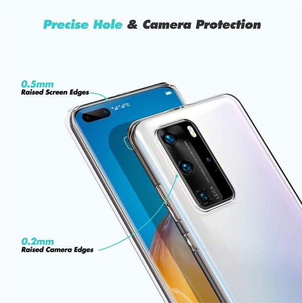 Huawei P40 Lite Case, Slim Clear Silicone Gel Phone Cover
