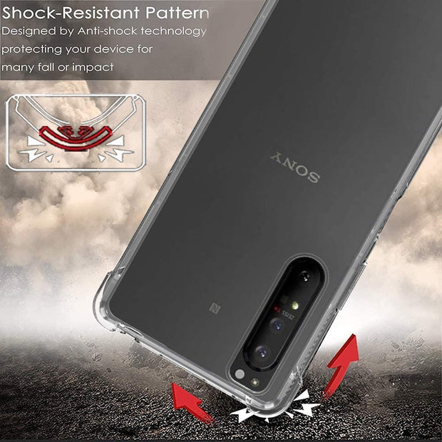 Shockproof Scratch Resistant Gel Rubber Silicone Phone Cover For Sony Xperia 1 II  - Clear