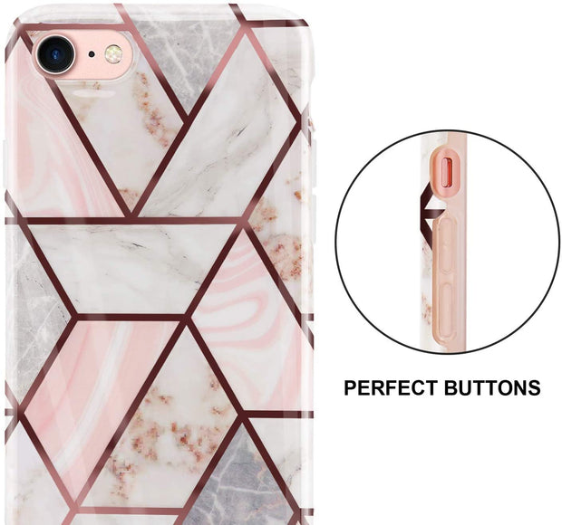 Apple iPhone 8 Case Rose Gold Marble Silicone Cover