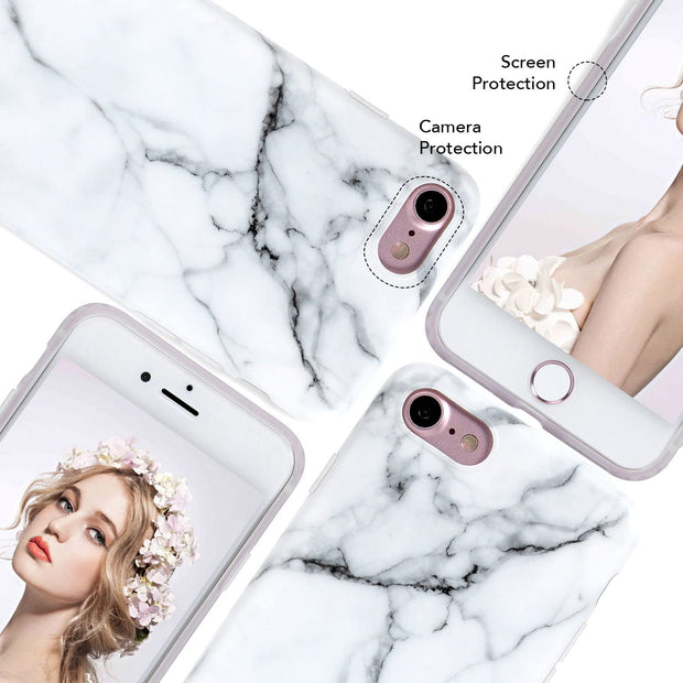 Apple iPhone SE 2020 (2nd Gen) Case White Marble Slim Anti-Scratch Shockproof Cover Glossy Flexible Clear Transparent TPU Soft Case