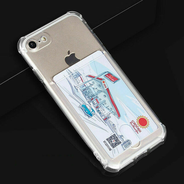 "Clear Case For iPhone 12 6.1"" TPU Silicone with Card Slot"