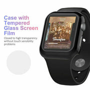 Tempered Glass Protector Screen + Case Cover For iWatch Apple Watch 5 4 3 2 1