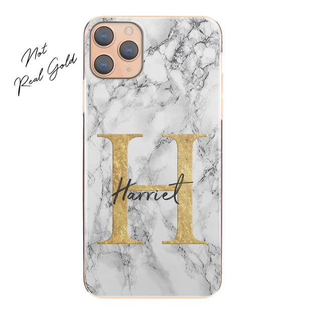 Personalised Phone Case For Apple iPhone SE 2020 Initial Marble Hard Cover