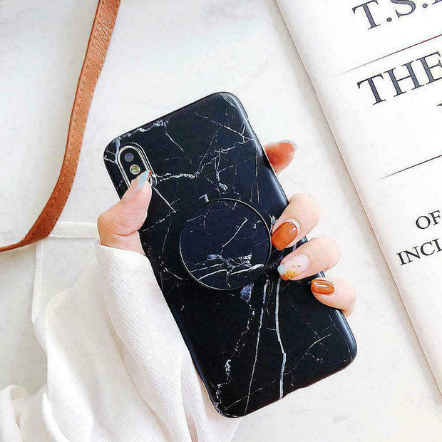Marble Tpu soft Case With Pop Up Holder Socket For iphone XR
