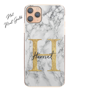 Personalised Phone Case For Apple iPhone 8 Initial Marble Hard Cover