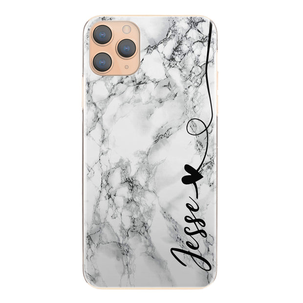 Personalised Phone Case For iPhone XR , Initial Grey/Black Marble Hard Cover