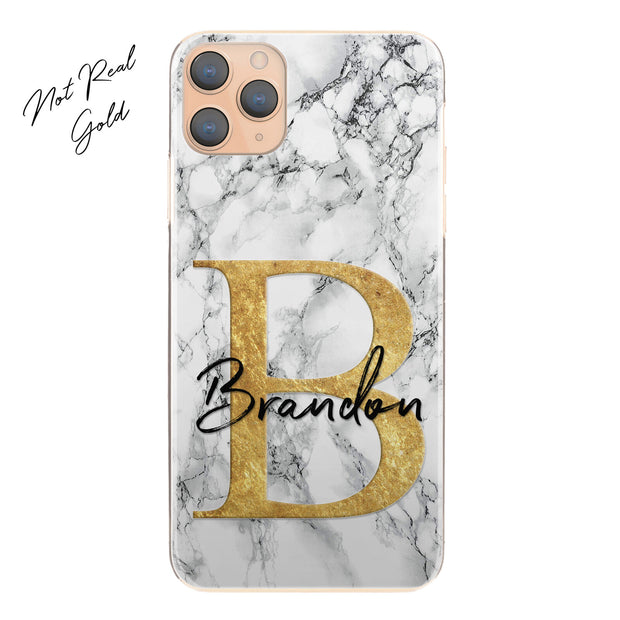 Personalised Phone Case For iPhone 11 Pro Max, Initial Grey/Black Marble Hard Cover