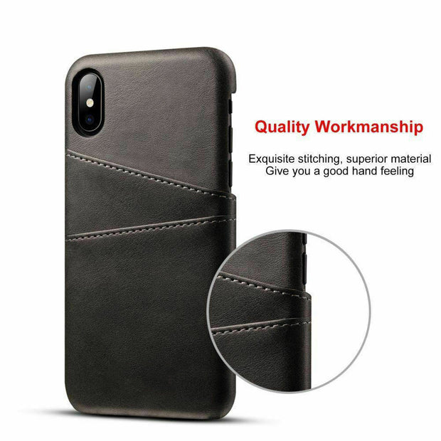 Luxury Leather Back Case Card Holder Phone Cover for iPhone 11