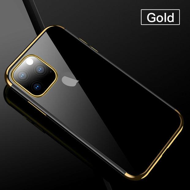 "iPhone 12 6.1"" Plating TPU Slim Clear Soft Case Cover"