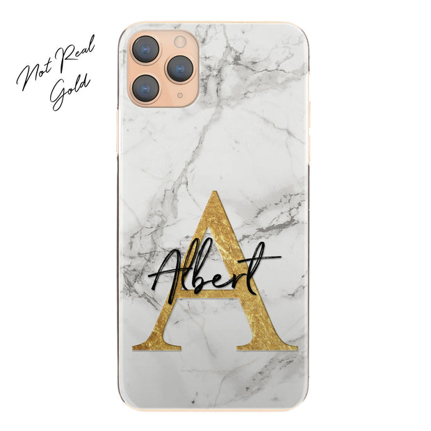 Personalised Phone Case For iPhone 11, Initial Grey/Black Marble Hard Cover