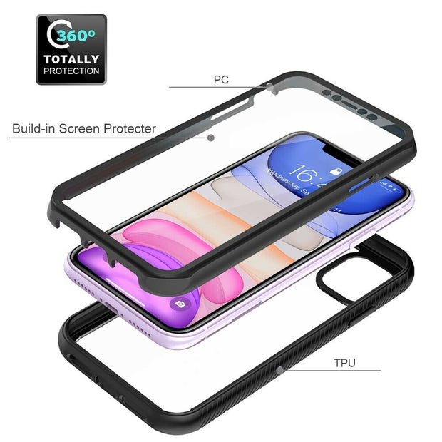 "Full Body Hybrid Clear Shockproof Case For iPhone 12 6.1"" Cover"