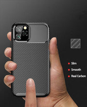 Shockproof Silicone Carbon Fiber Fibre Case Cover For Apple iPhone 11 Pro