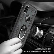 Hybrid Black Shockproof Ring Stand Hard Case Cover For iphone X / XS