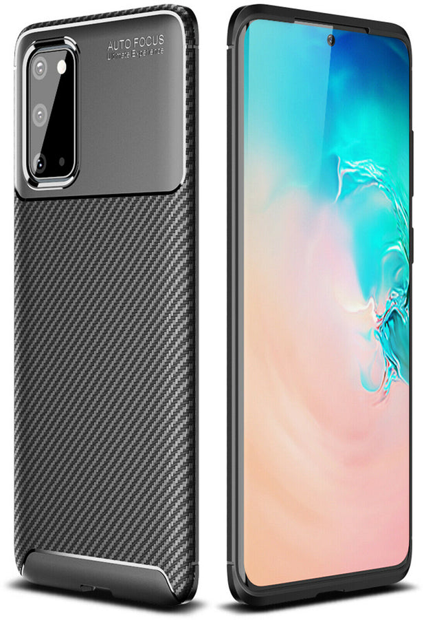 Shockproof Silicone Carbon Fiber Fibre Case Cover For Samsung S10 Plus