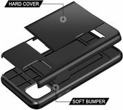 "For iPhone 12 6.1"" Shockproof Card Holder Wallet Cover Case"
