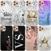Personalised Phone Case For iPhone 8, Initial Grey/Black Marble Hard Cover