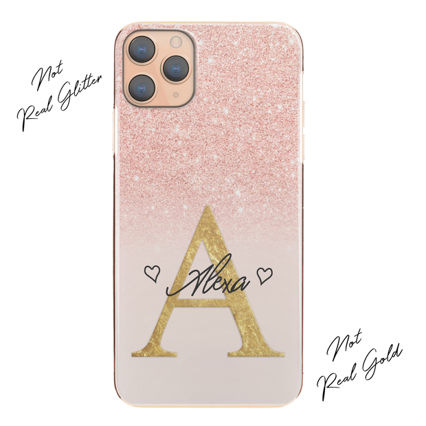 Personalised Phone Case For iPhone 8, Initial Grey/Pink Marble Hard Cover