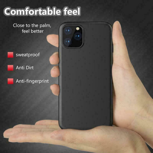 "Black CASE For iPhone 12 6.1""  ShockProof Protector Matt Silicone Cover"