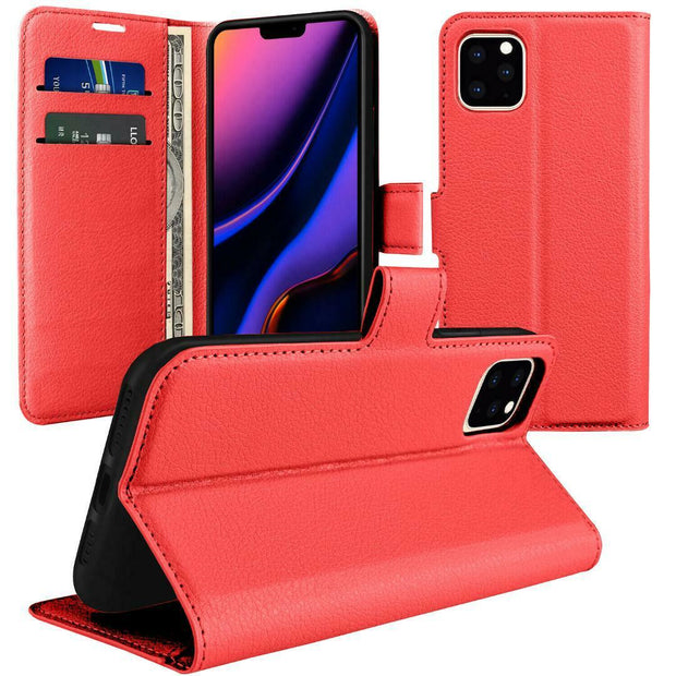 Leather Flip Wallet Case with Cash / Card Slots For Apple iphone X / XS