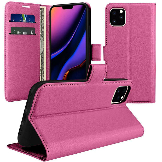 Leather Flip Wallet Case with Cash / Card Slots For Apple iphone XR