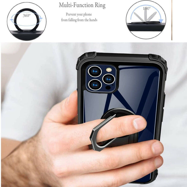 "For iPhone 12 6.1"" Clear Case Shockproof Tough Silicone Ring Phone Cover"