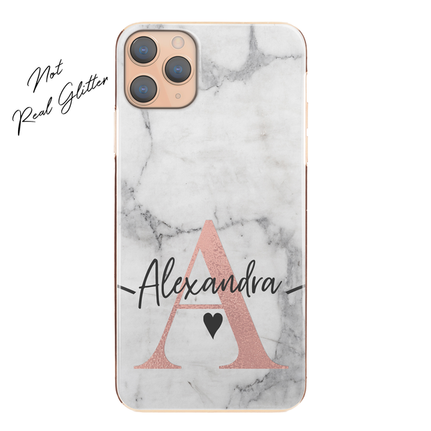 Personalised Phone Case For Apple iPhone XS Max Initial Marble Hard Cover