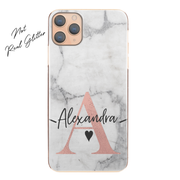 Personalised Phone Case For Apple iPhone 8 Plus Initial Marble Hard Cover