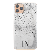 Personalised Phone Case For iPhone XS MAX, Initial Grey/Pink Marble Hard Cover