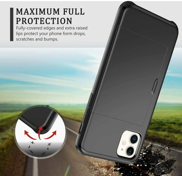 "For iPhone 12 Pro Max 6.7"" Shockproof Card Holder Wallet Cover Case"
