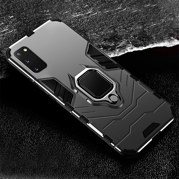 For Samsung S21 Ultra  Rugged Armor Shockproof Ring Stand Case Cover