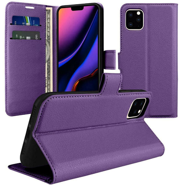 Leather Flip Wallet Case with Cash / Card Slots For Apple iphone SE 2020 (2nd Gen)