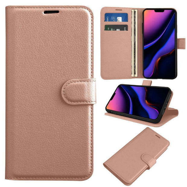 Leather Flip Wallet Case with Cash / Card Slots For Apple iPhone 12 6.1""