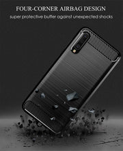 Samsung Galaxy A41 Carbon Fibre Gel Case Cover Shockproof & Stylus Pen