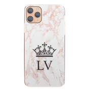 Personalised Phone Case For iPhone 7 Plus, Initial Grey/Pink Marble Hard Cover