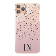 Personalised Phone Case For iPhone 12 Pro, Initial Grey/Pink Marble Hard Cover