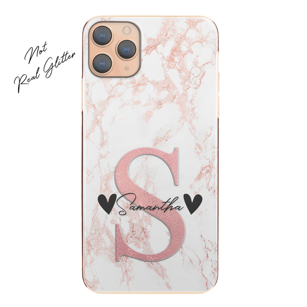 Personalised Phone Case For iPhone 12 Pro Max , Initial Grey/Pink Marble Hard Cover