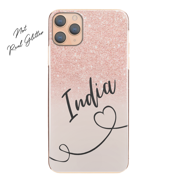 Personalised Phone Case For iPhone 11 Pro Max, Initial Grey/Pink Marble Hard Cover