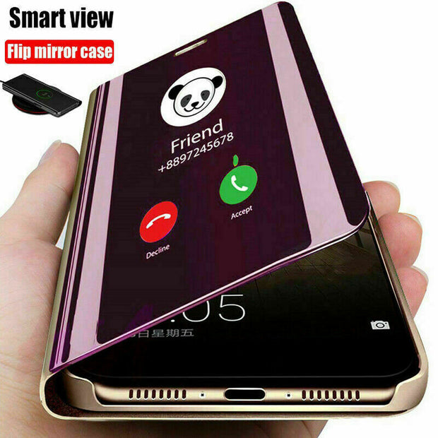 "Mirror Flip Case for iPhone 12 6.1"" Slim Leather Stand Phone Cover"