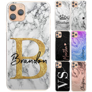 Personalised Phone Case For iPhone 8 Plus, Initial Grey/Black Marble Hard Cover