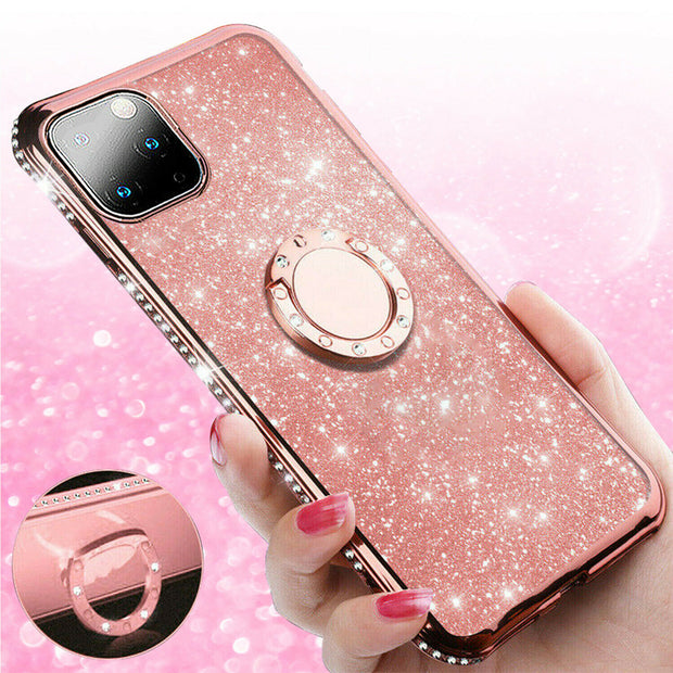 "For  iPhone 12 Pro Max 6.7"" Bling Case Slim TPU Ring Holder Stand Cover"