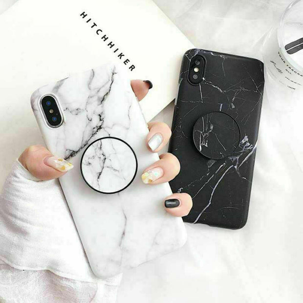 New Black White Marble Phone Case With Socket Holder For iPhone 11