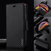 Premium Carbon Leather Case Flip Wallet Cover For iPhone 12 6.1""