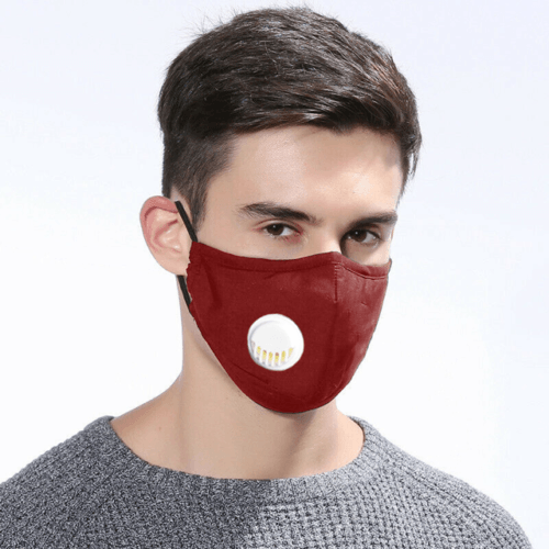 4 LAYERS COTTON FACE MASK WITH FILTERS AIR VALVE WASHABLE REUSABLE BREATHABLE UK