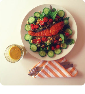 Carrot Sesame Salmon Salad
