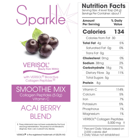 Sparkle Collagen Smoothie Mix - Acai Berry Blend - Nutrition Facts