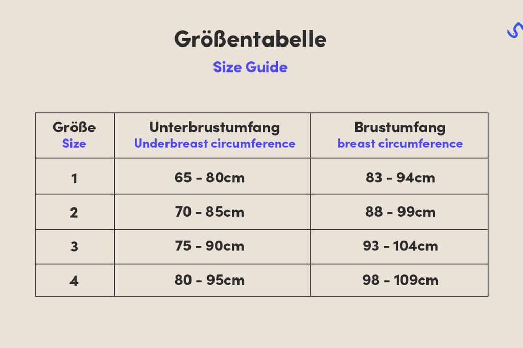 Size guide for the sylish and sustainable branayama nursing bra that can replace nursing pads