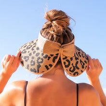 Load image into Gallery viewer, Leopard Bow Sun Hat